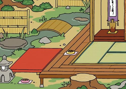 ねこあつめもようがえ「池と床の間」